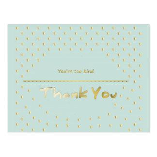 金ハートのミントの青は感謝していしています ポストカード