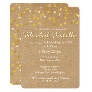 金ハートの洗礼の《キリスト教》洗礼式や命名式の招待状 カード