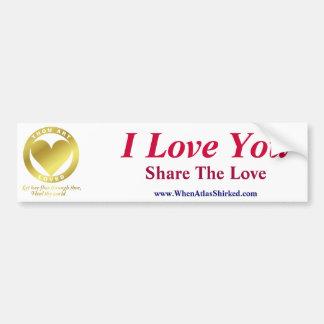 金ハート- I愛、愛を共有します バンパーステッカー