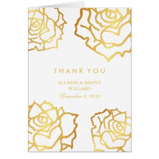 金バラのサンキューカード-白 カード