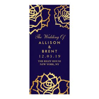 金バラの結婚式プログラム-青 ラックカード