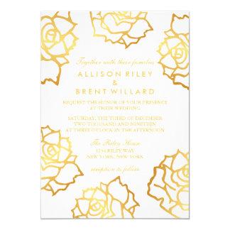 金バラの結婚式招待状-白 カード