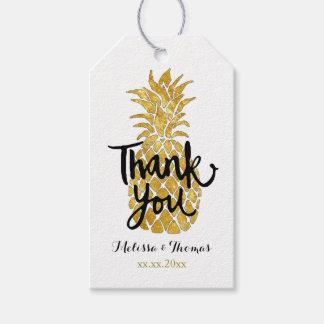 金パイナップルの書道ありがとう ギフトタグ
