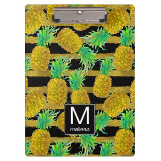 金パイナップルはの|のモノグラムを縞で飾ります クリップボード
