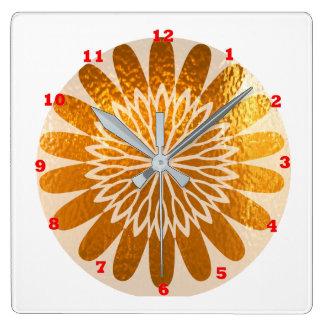 金ヒマワリの芸術の装飾 スクエア壁時計