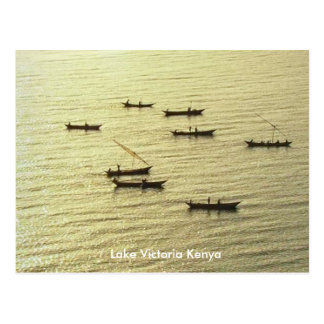 金ビクトリア湖ケニヤの漁船 ポストカード