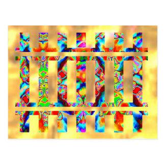 金フラッシュ-カラフルな輝き ポストカード