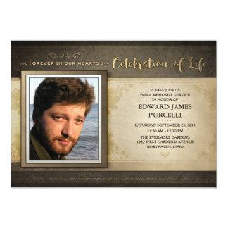 金ブラウンの写真の告別式の招待状 カード