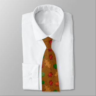金ブラウンの紅葉の人のタイ オリジナルネクタイ