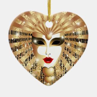 金ベニスのカーニバルのパーティーのマスク セラミックオーナメント