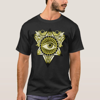 金マスターのilluminatiの神秘的な目の記号 tシャツ