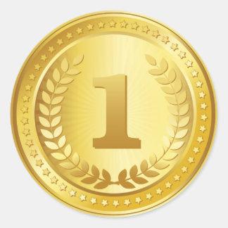 金メダルの第1場所の勝者のステッカー ラウンドシール