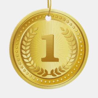 金メダルの第1場所の勝者ボタン セラミックオーナメント