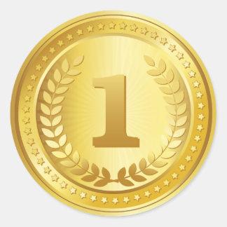 金メダルの第1場所の勝者ボタン ラウンドシール