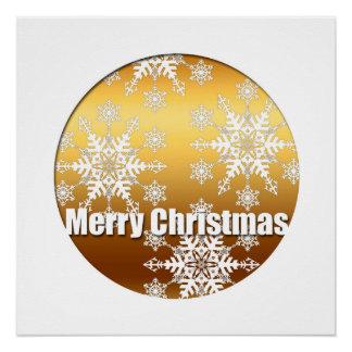 金メリークリスマスの雪片はポスターを完成します ポスター