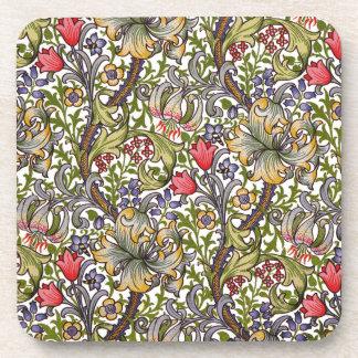 金ユリのヴィンテージの花パターンウィリアム・モリス コースター