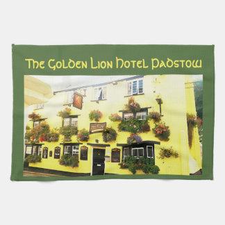 金ライオンのホテルPadstowコーンウォールイギリス キッチンタオル