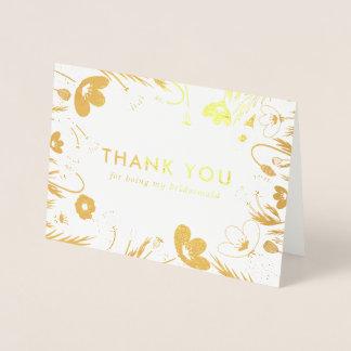 金レトロのケシの新婦付添人は感謝していしています 箔カード