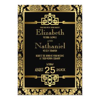 金ロマンスの20年代のアールデコの結婚式招待状 12.7 X 17.8 インビテーションカード