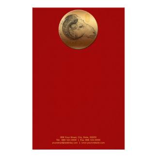 金中国のなラムの年または誕生日の文房具 便箋