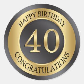 金効果の第40誕生日 ラウンドシール