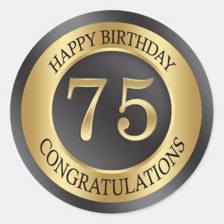 金効果の第75誕生日 ラウンドシール