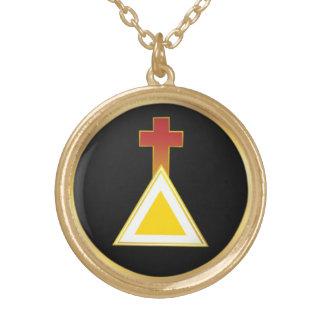 金夜明けの十字および三角形のネックレス ゴールドプレートネックレス