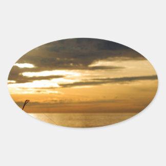 金太平洋の日没 楕円形シール