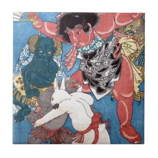 金太郎と動物、国芳Kintaro及び動物、Kuniyoshi、Ukiyo-e タイル