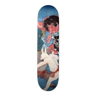 金太郎と動物、国芳Kintaro及び動物、Kuniyoshi、Ukiyo-e 18.7cm ミニスケートボードデッキ