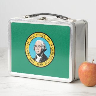 金属のステンレス製のランチボックス-ワシントン州の旗 メタルランチボックス