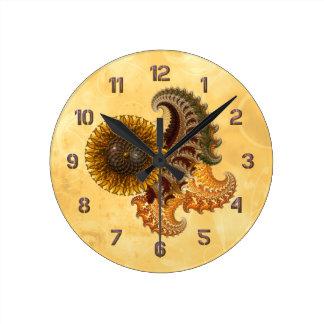金属のヒマワリ ラウンド壁時計