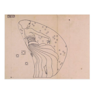 金属のレリーフ、浮き彫りのためのKoloman Moser-の草案 ポストカード