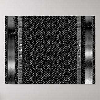 金属の一見のボーダーカーボン繊維のプリント ポスター