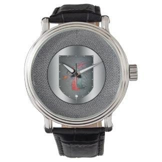 金属の盾のドラゴンのChainmailのボーダー 腕時計