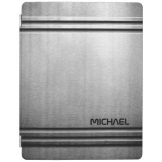金属の鋼鉄光沢の金属銀製灰色は個人化なります iPadスマートカバー