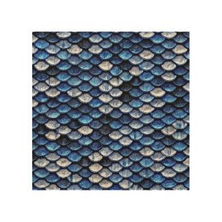 金属コバルトブルーの魚スケールパターン ウッドウォールアート