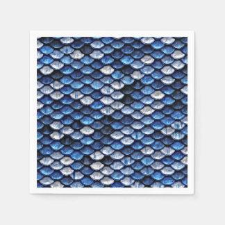 金属コバルトブルーの魚スケールパターン スタンダードカクテルナプキン
