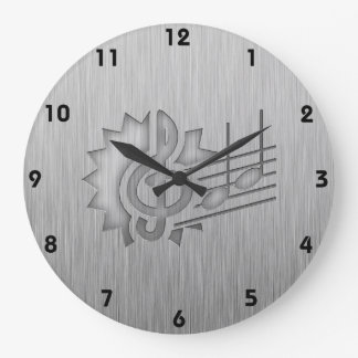 金属一見のト音記号 ラージ壁時計