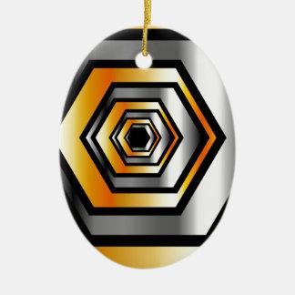 金属六角形の錯覚 セラミックオーナメント