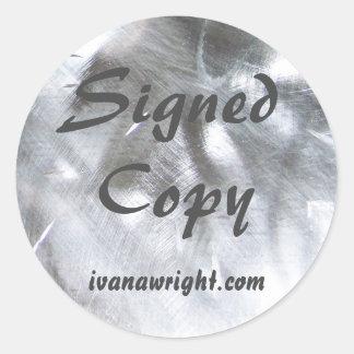 金属写真および灰色によって署名されるコピー ラウンドシール