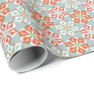 金属及び赤いOrigamiの花のギフト用包装紙 ラッピングペーパー