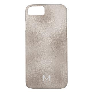 金属名前入りで魅力的なホワイトゴールドのアイボリー iPhone 8/7ケース
