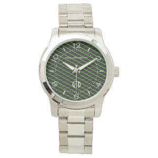 金属名前入りな産業網の緑の真珠 腕時計