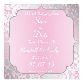 金属明るいピンクのセーブ・ザ・デート案内 カード