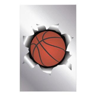 金属板を通したバスケットボール 便箋