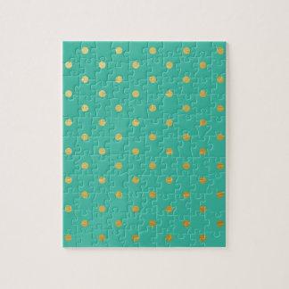 金属模造のな金ゴールドの水玉模様のティール(緑がかった色) ジグソーパズル