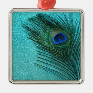 金属水の青い孔雀の羽 メタルオーナメント