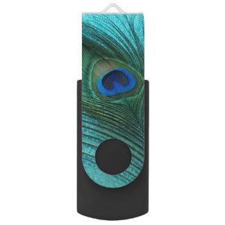 金属水の青の孔雀 USBフラッシュドライブ