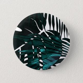 金属深緑色の熱帯葉 5.7CM 丸型バッジ